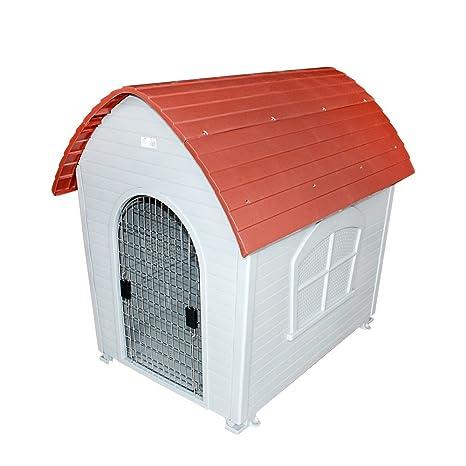 DZL® Caseta plástico para Perro Disponible en Dos tamaños (Rojo, 74 * 48
