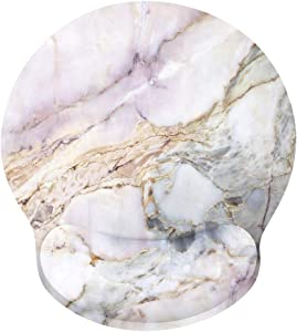 Ergonomic Mouse Pad with Gel Wrist Rest Support, iLeadon Non-Slip Rubber Base Wrist Rest Pad for Home, Office Easy Typing & Pain Relief, Colorful Marble