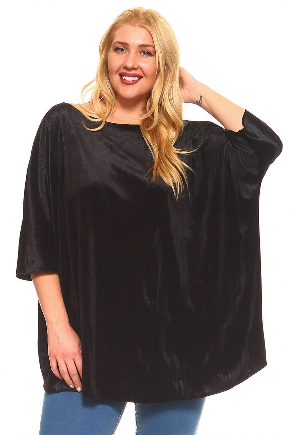 Simplicitie Womens Plus Size Boho Velvet Tunic Top Made in USA