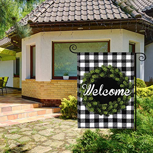 LovesTown Double Sided Welcome Garden Flag, Buffalo Plaid Outdoor Flag Farmhouse Garden Flag Seasonal Yard Outdoor Decoration Spring House Outdoor Flag Autumn Outdoor Decoration