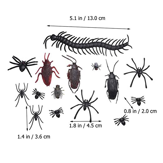 Amosfun 44pcs Halloween Plastic Insect Figurine Mixed Artificial Spider Bat Scorpio Lifelike Prank Gag Toy Gift For Halloween Party Favors Random Color Pattern