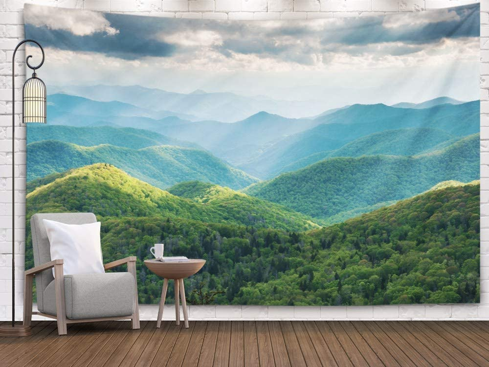 Tapestry Wall Hanging,Wall Tapestry,Shorping 80x60Inches Home Art of Cotton for Décor Living Room Dorm Carolina Great Smoky Mountain Scenic Landscape with Light Rays and Spring Greens