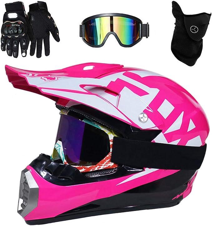 Downhill Helm mit Brille und Handschuhe Crosshelme Motorradhelm Schutzhelm f/ür MTB Enduro Sport Sicherheit Schutz Motocross Helm Damen Schwarz und Pink 5 St/ück