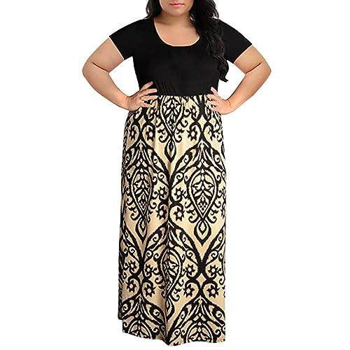84c8600ff4a Übergröße Kleid Kolylong Damen Elegant Drucken Ärmellose Kleid Lang Retro  Swing Kleid Sommer Print Maxikleid Boho
