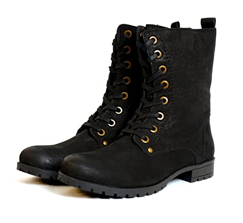 afbc3a23c1f Aspele Womens Leather Black Brown Combat Military Style Biker Ankle Boots  with Lace up and Zip  Amazon.co.uk  Shoes   Bags