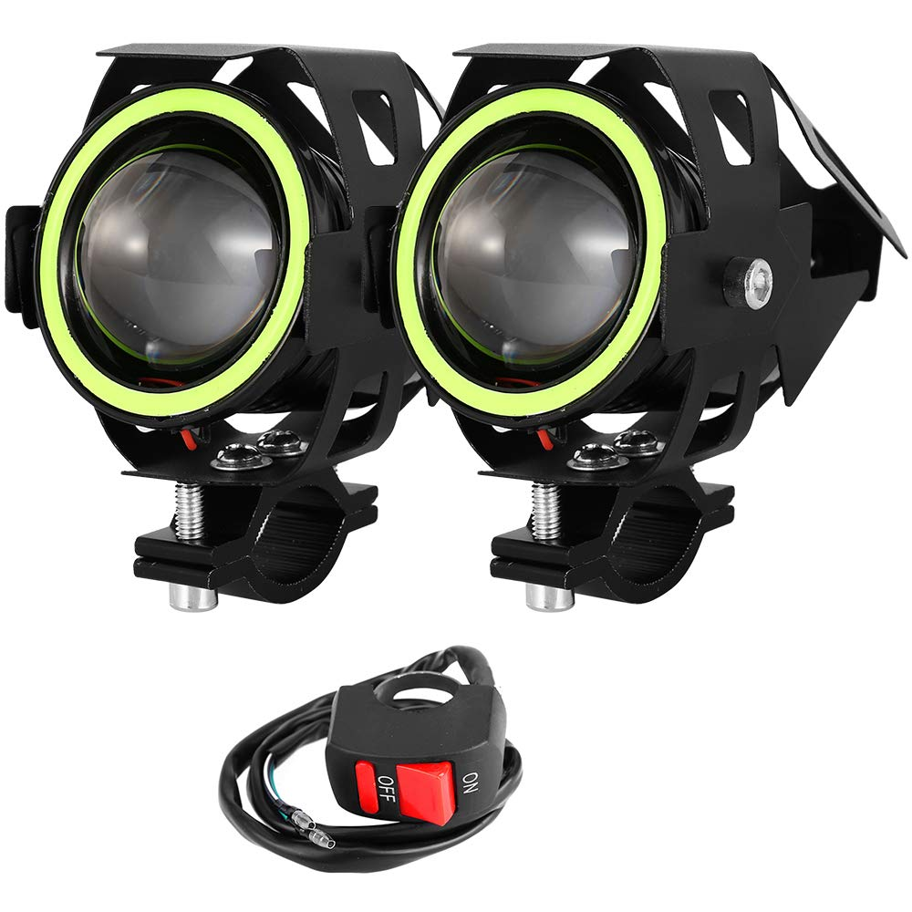 Rosso 2 PCS Fari Moto Faretto Anteriore CREE U7 LED 4000 LM con Interruttore On Off Fanale Lampada Universale Impermeabile 3 Modalit/à per Moto Scooter Auto Bici Camion Barca