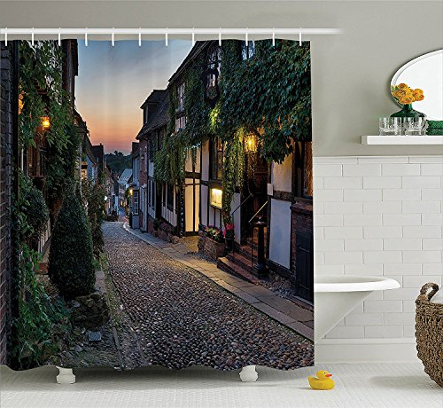 [Wanderlust Decor Collection Nighttime On The Cobbles At Mermaid Street In East Sussex Cottages Houses Picture Polyester Fabric Bathroom Shower Curtain Green] (The Pope Costume At The White House)