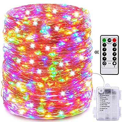 Fairy Lights, 66ft 200 LED Outdoor String Lights, Waterproof Battery Operated Copper 8 Lighting Modes, Chirstmas Party,for Bedroom,Patio,Indoor,Party,Garden