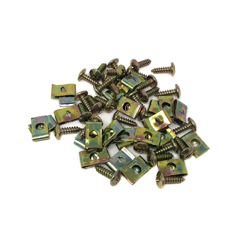 GY6 Gas Scooter Body Fairing Panel Screws and Self Tapper Clips - M4.8x16 - 50 Count Natural Metal Color