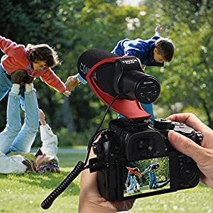 Comica Video Microphone Super-Cardioid Directional Condenser Photography Interview Lightweight Shotgun Camera Microphone for Nikon,Canon and DSLR Cameras(AAA battery included) (Red)