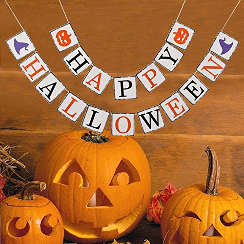 Happy Halloween Banner Sign - Halloween Party Decorations - Vintage Photo Props Fall Decor