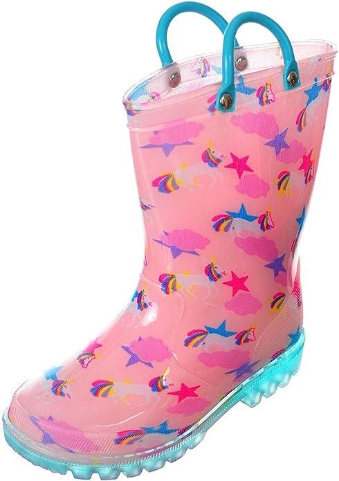 Girls Light-Up Rubber Rain Boots - Pink