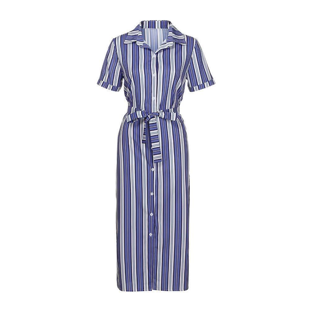 HITRAS Elegant Women Summer Button Up Split Dresses Floral Print Flowy Party Maxi Dress Blue