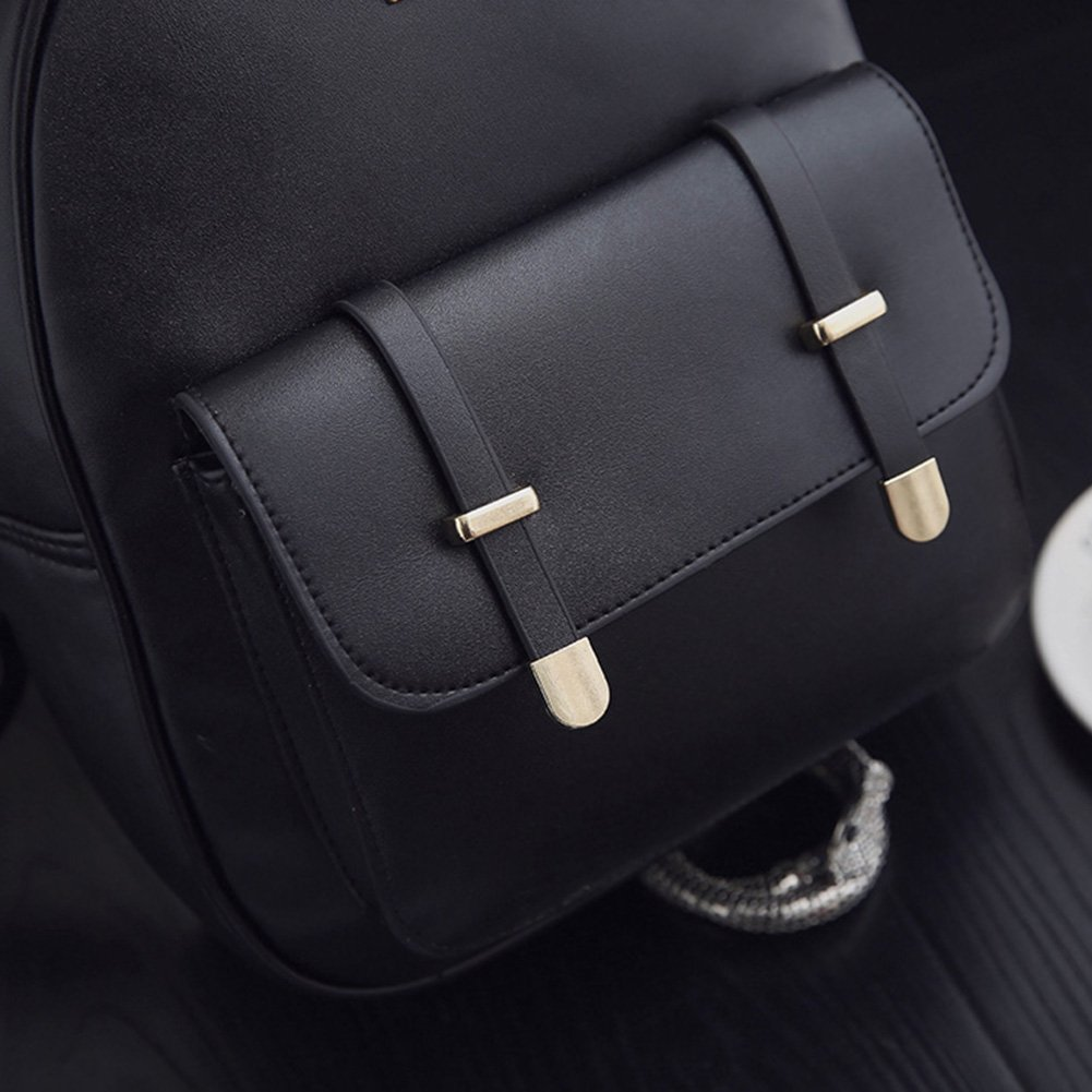 16eebbaec0b3 AFfeco 3pcs Women PU Leather Backpack School Bag Shoulder Bag Card Holder  Purse