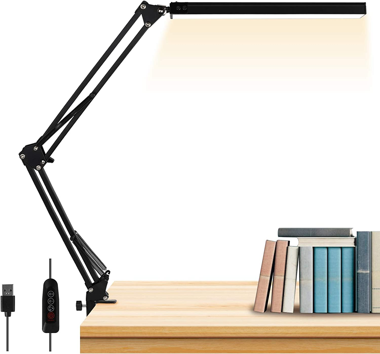 LED Desk Lamp, AXUF Metal Swing Arm Desk Lamp with Clamp, Eye-Caring Modern Architect Task Lamp, Dimmable Office Table Lamp with 3 Color Modes 10 Brightness Levels & Adapter, Memory Function,14W-Black