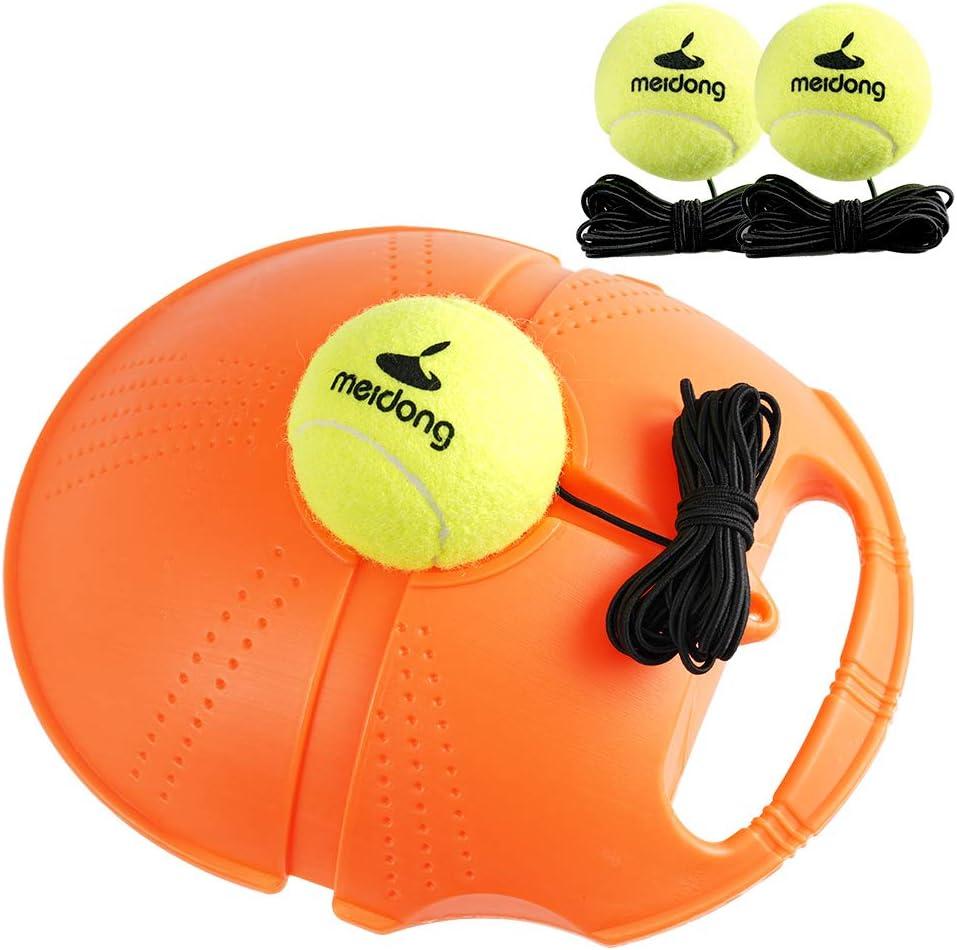 MEIDONGTennisTrainerReboundBaseboard with 3Long Rope BallsGreat for SinglesTraining, Self-StudyPractice,TennisTrainingToolsforKidsAdultsBeginners(Orange)