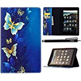 All-New Amazon Fire HD 8 Case 2017, iYCK Leather Stand Flip Folio [Card Holder] Protective Shell Wallet Case Cover for Fire HD8 Tablet (7th Generation, 2017 release) - Golded Butterfly