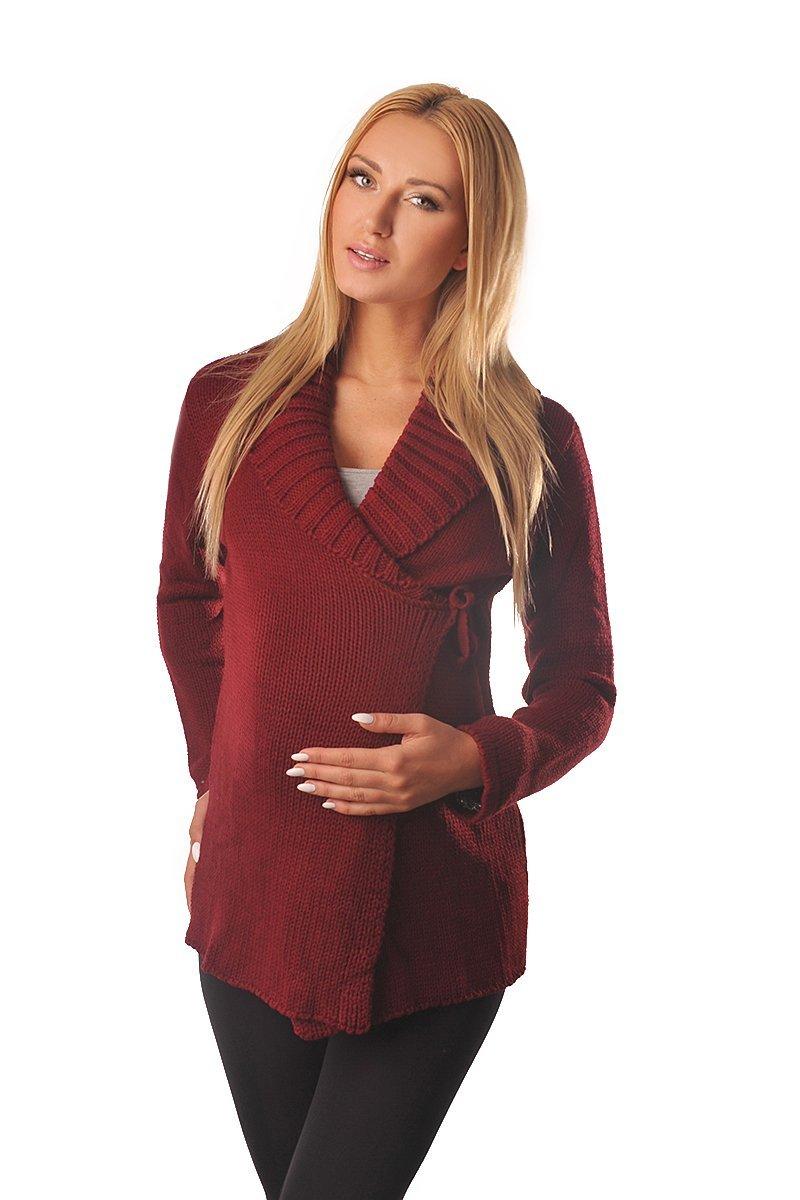 Warm Maternity Wrap Over Cardigan Coat Pregnancy Nursing 9002 Variety of Colours (12/14 (UK 16/18), Burgundy)
