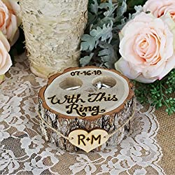 Personalized Rustic Tree Stump Ring Bearer Pillow Box - With This Ring