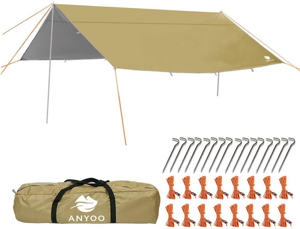Anyoo Telo da Campeggio per rifugio Amaca Leggera Idrorepellente Impermeabile Durevole Portatile e Compatto Inclusa di Pali e picchetti Puo Essere usata per Campeggio