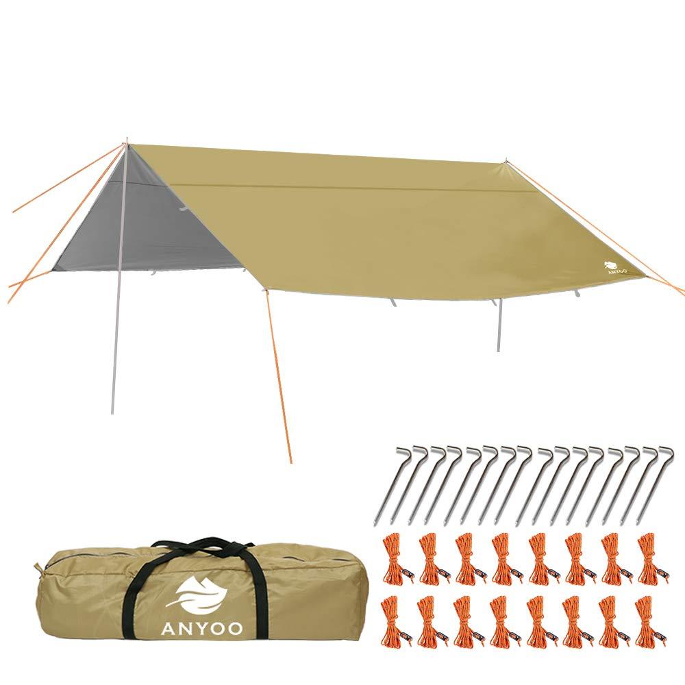 Anyoo Camping Tarp Shelter Lightweight Hammock Rain Fly Waterproof Durable Portable Compact for Fishing Beach Picnic by Anyoo