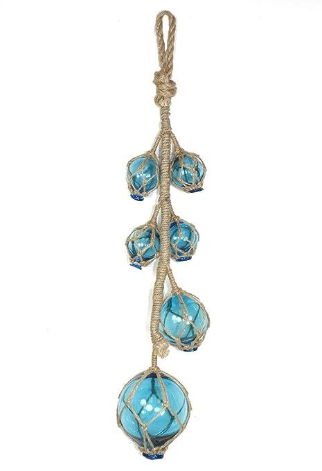 Océano azul cristal flotadores de pesca boyas en cuerda de yute colgar en la pared 26
