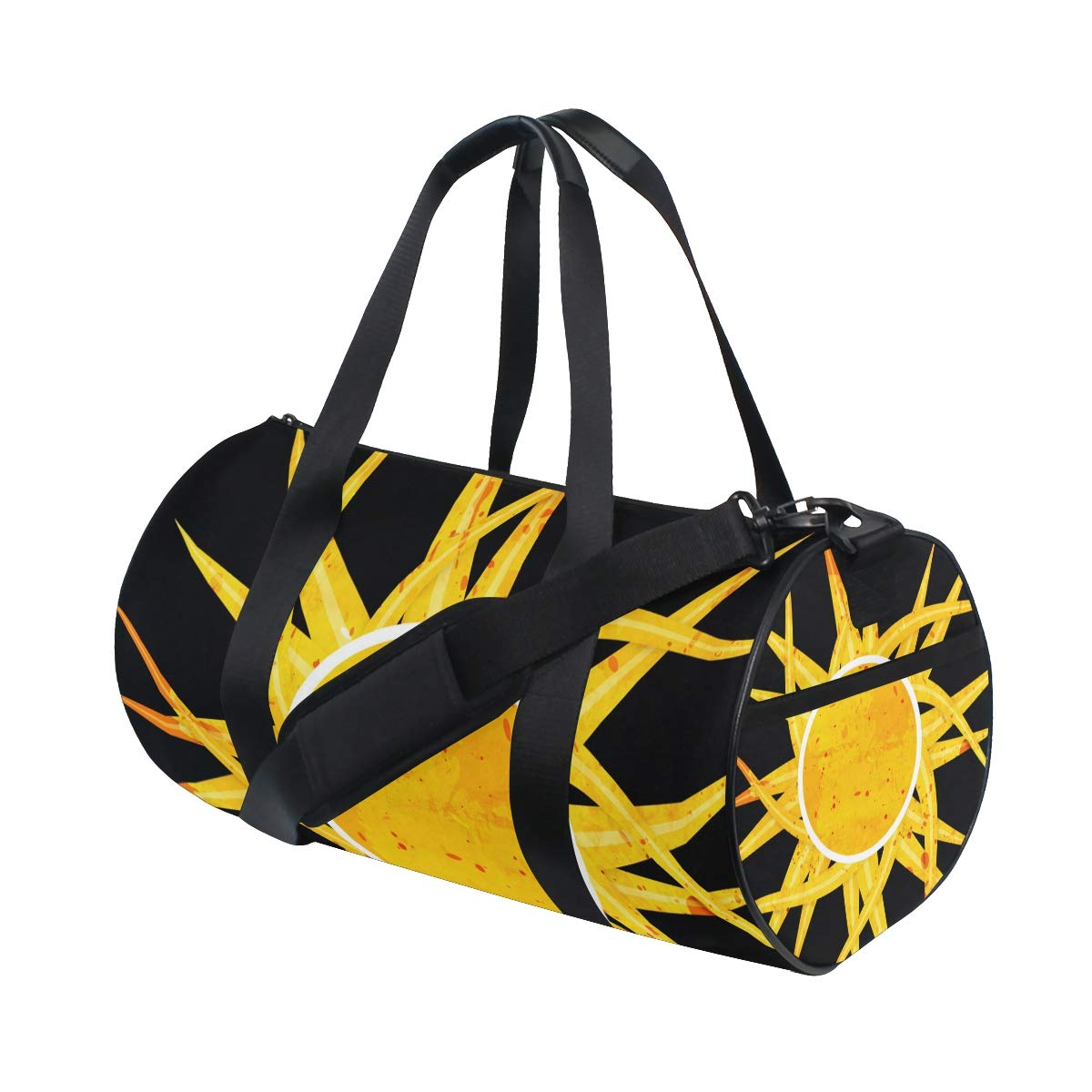 Sun Yoga Sports Gym Duffle Bags Tote Sling Travel Bag Patterned Canvas with Pocket and Zipper For Men Women Bag