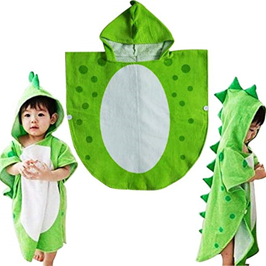 Children Bath Towel Robe Kids Hooded Beach Swimming Poncho Dinosaur Pattern (Green, 55cm*110cm) Drcool