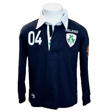 096ba5fc8 Traditional Craft Ltd. Navy Ireland 3 Shamrock Long Sleeve Kids Rugby Shirt  (1-