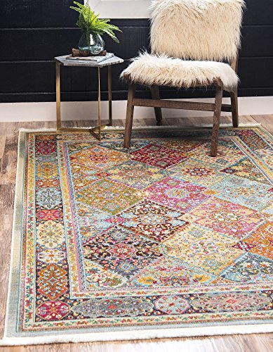 - Unique Loom Baracoa Collection Bright Tones Vintage Traditional Multi Area Rug (10' 0 x 13' 0)