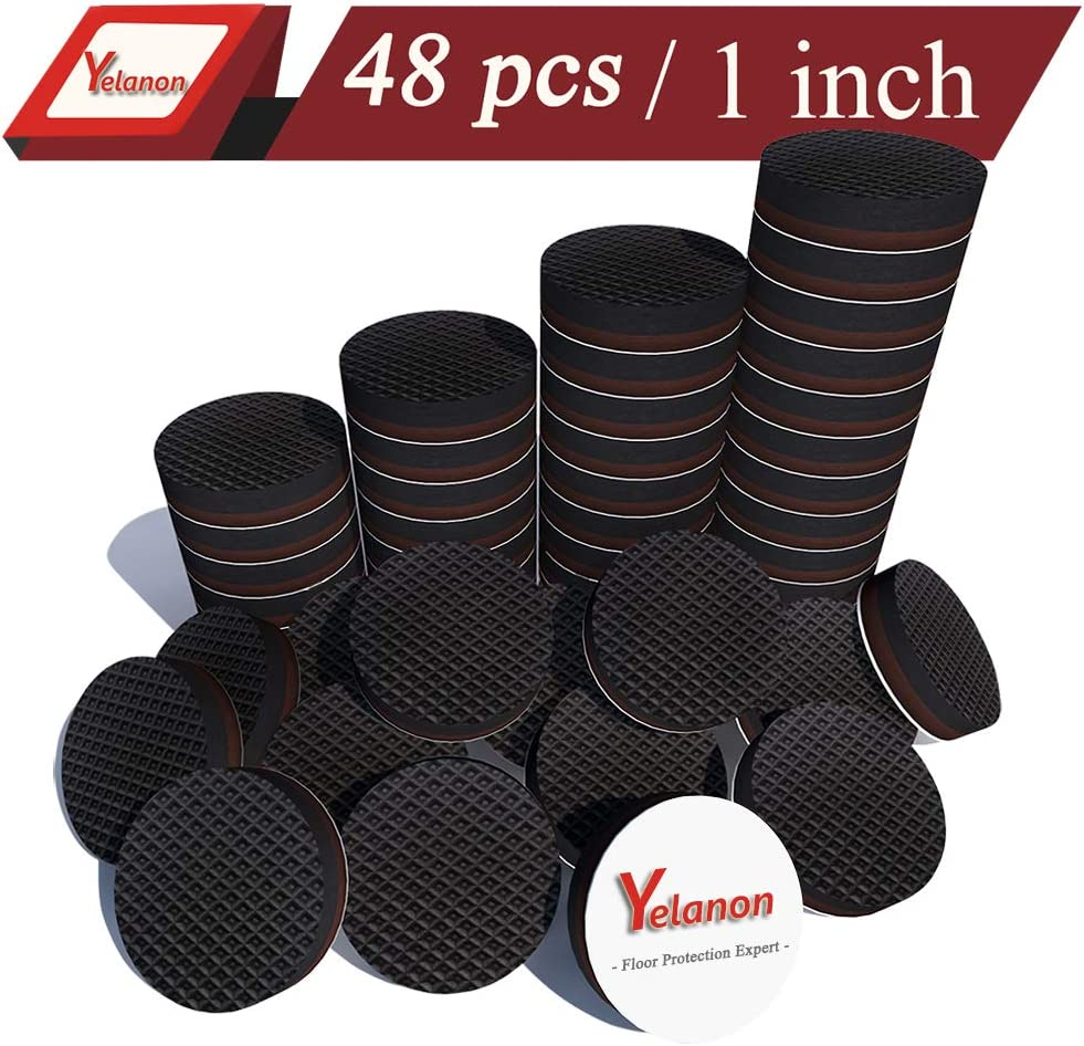 Yelanon Non Slip Furniture Pads Self Adhesive 48 Pieces 1'' Furniture Grippers Furniture Rubber Round Pads Thick Chair Leg Floor Protectors to Protect Hardwood Floors