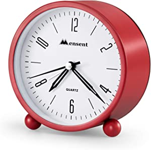 Alarm Clock.Mensent 4 inch Round Silent Analog Alarm Clock Non Ticking,with Night Light, Battery Powered Super Silent Alarm Clock, Simple Design Beside/Desk Alarm Clock (Red)