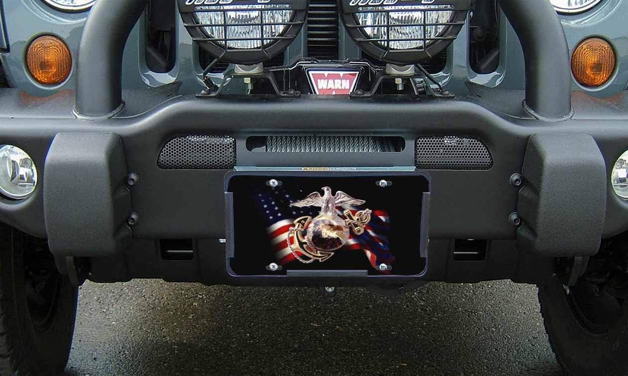Amcove USMC Black Flag License Plate Marines License Plate,Marine Corps Emblem on Black White Flag Decorative Car Front License Plate,Vanity Tag,Metal Car Plate,Aluminum Novelty License Plate