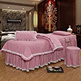 Massage Table Skirt Sheet Sets, Pure Color, 4 pieces, Bedspread with quilted blanket, Customizable (72.8L27.5W22H, Pink)
