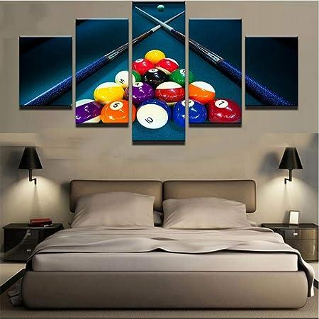Decoración para el hogar Moderno Lienzo Sala de estar HD 5 Panel Deportes Color Billar Imágenes Pintura Wall Art Modular Poster Impreso Marco Lienzo de pintura: Amazon.es: Hogar