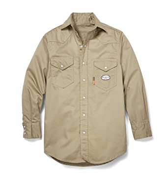 d0dd8096ce29 Amazon.com  Rasco FR Mens Khaki 7 5oz FR Snap L S Shirt  Clothing