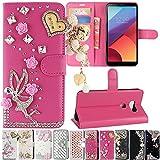 LG V30 / V30+ / V30 Plus Case, Best Share Manual Bling Flip Stand PU Leather Wallet Full Cover Silicone Case Card Slot for LG V30 / V30+ / V30 Plus, Rose Red-Angel Pedant