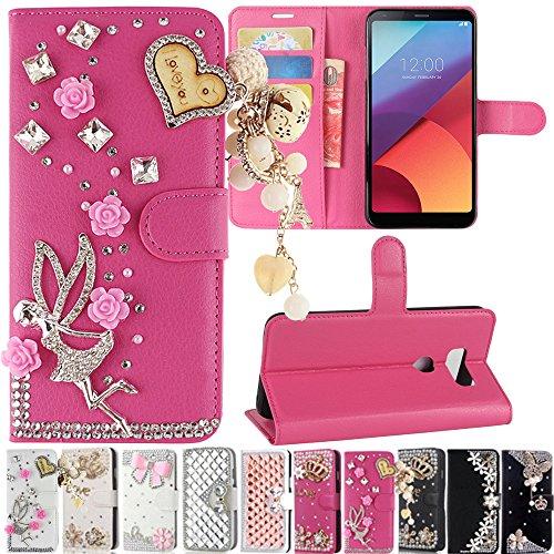 LG V30 / V30+ / V30 Plus Case, Best Share Manual Bling Flip Stand PU Leather Wallet Full Cover Silicone Case Card Slot for LG V30 / V30+ / V30 Plus, Rose Red-Angel Pedant by Best Share