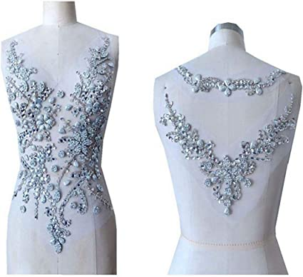 Handmade black crystal patches sew on Rhinestones applique on white mesh with stones sequins beads 54*29cm for top dress
