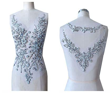 Amazon.com  hand made sew on silver Sequins Rhinestones applique on mesh crystal  patches trim 50x30 30x20cm for dress back and front  Arts 1c384cbd2fda