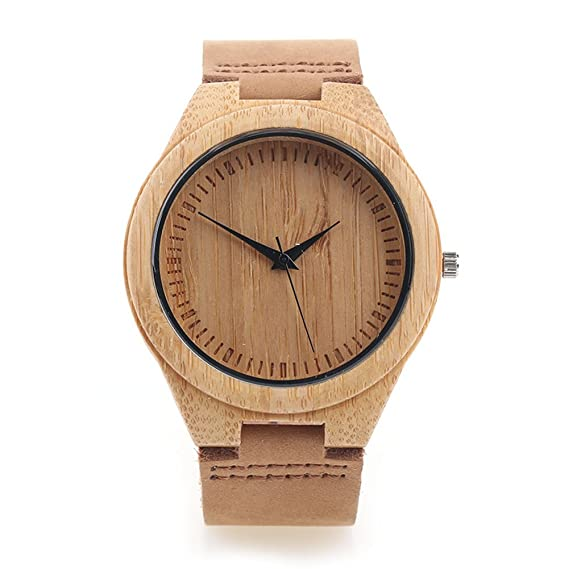 Amazon.com: Bamboo Wooden Watch with Cowhide Leather Strap Japanese Quartz Movement Casual Watches Creative Gifts For Men (Brown without numbers): Watches