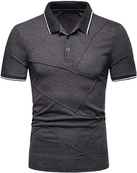 Camisa Hombre Manera Corta de la Raya de la Manga del Remiendo de la Camisa de Gran tamaño Ocasional Superior de Las Camisas Camiseta Camisa Negra Polos Hombre Camisa Rayas Hombre Jodier:
