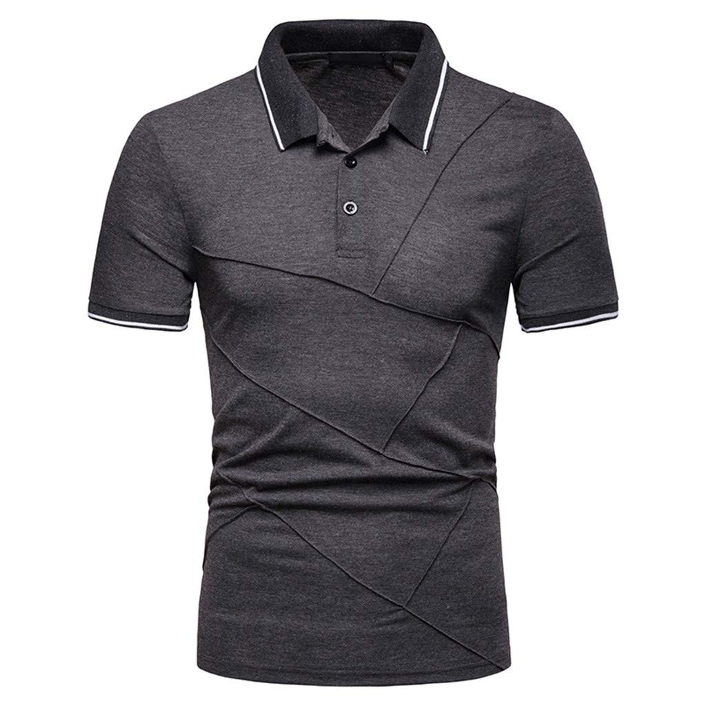 Mens Polo Shirt GREFER Summer Short Sleeve Patchwork Top Plus Size Blouse Lapel Button-Down Shirts