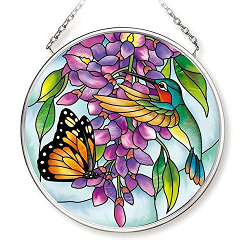 Amia Wisteria Small Glass Circle Suncatcher 3-1/2