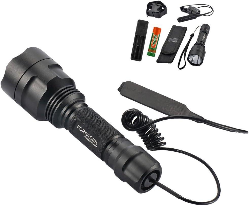 Forrader Cree XM-L Linterna de Caza, Alcance de Montaje Lamping lámpara Kit de Caza de Armas de Aire Rifle Light