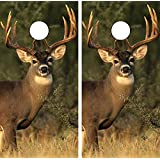 C112 Deer Hunting CORNHOLE LAMINATED DECAL WRAP SET Decals Board Boards Vinyl Sticker Stickers Bean Bag Game Wraps Vinyl Graphic Tint Image Corn Hole