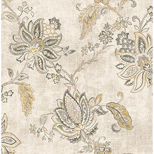 Wallpaper Designer Large Black Gray Tan Jacobean Floral Vine on Cream Gray Faux ()