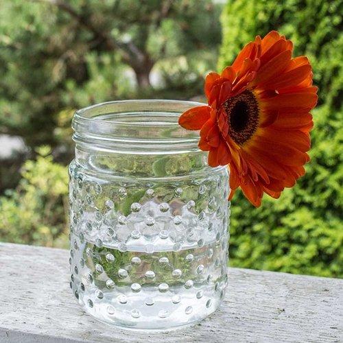2 Pack-Vintage Hobnail Clear Glass Jar Candle Holder, Antique Vase, Centerpiece, Small (Hobnail Small Vase)