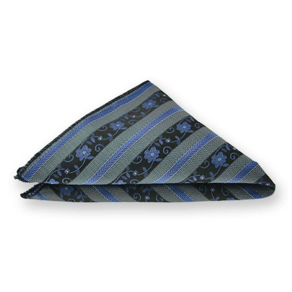 TieMart Brilliant Blue Anna Floral Stripe Pocket Square