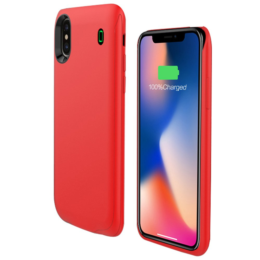 iPhone X Battery Charging Case,Lanyos 4000mAh Portable Ultra Slim Power Bank Rechargeable Extended Battery Pack Charging Case (5.8inch) -Red